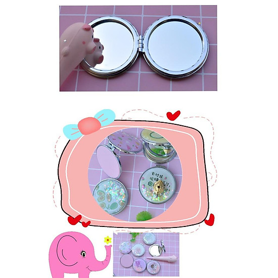 Gương mini 2 mặt nhũ ki tuyến họa tiết cute quả bơ, trái bơ, gấu bế thỏ, tôm và jely