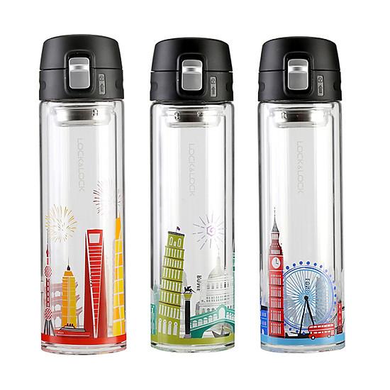 Lock & Lock (LOCK & LOCK) Teacup Glass Cup Double Glass 350ml Italian Style LLG663CRM-5