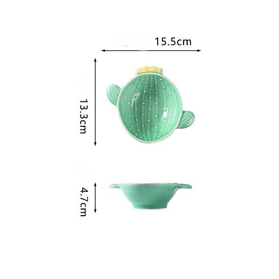 Nordic Style Creative Ceramic Tableware Plant Cactus Cute Plate Breakfast Bowl Household Tableware Snack Dish Fruit Salad Plate-Style B-2