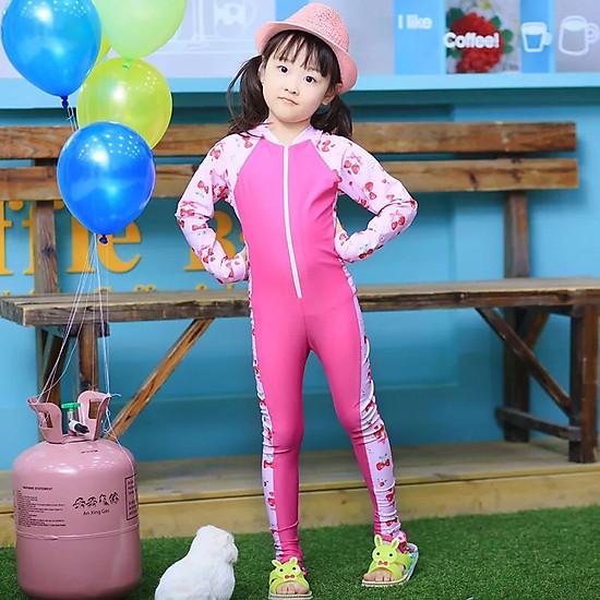 Hình đại diện sản phẩm Bộ bơi liền dài tới gót hồng tay pha hình dâu bé gái từ 2 đến 16 tuổi