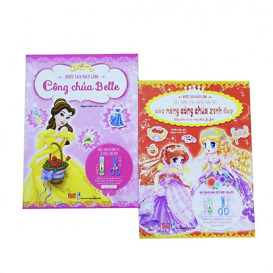 Hình đại diện sản phẩm Sách Bộ 2 cuốn - Sách Khéo tay hay làm - Cắt dán phụ kiện váy áo : Công chúa Belle, Nàng tiên cá và công chúa Lọ Lem