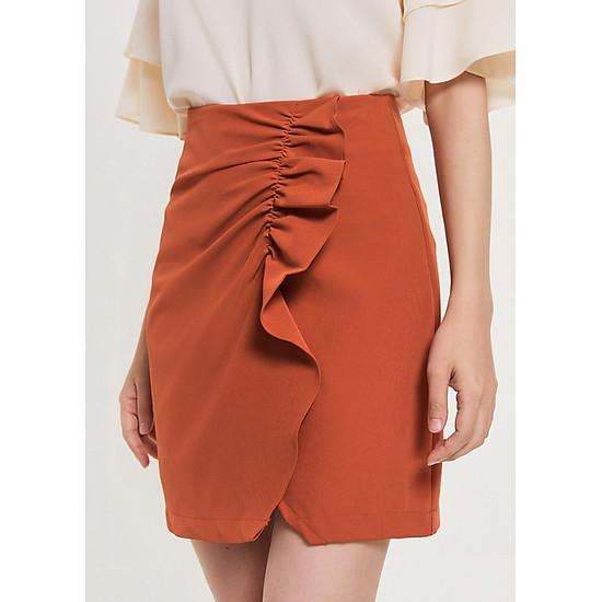 Hình đại diện sản phẩm Váy Nữ Xẻ Chéo Thân Trước Bèo Nhún Marc Fashion PN069618 - Cam