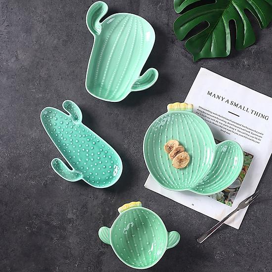 Nordic Style Creative Ceramic Tableware Plant Cactus Cute Plate Breakfast Bowl Household Tableware Snack Dish Fruit Salad Plate-Style B-4