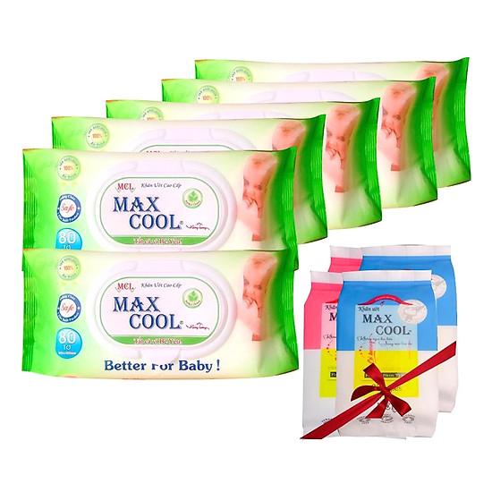 Combo 6 Khăn Ướt Max Cool Không Hương (80 Tờ x 6) – Tặng Kèm 4 Gói Khăn Ướt Max Cool (15