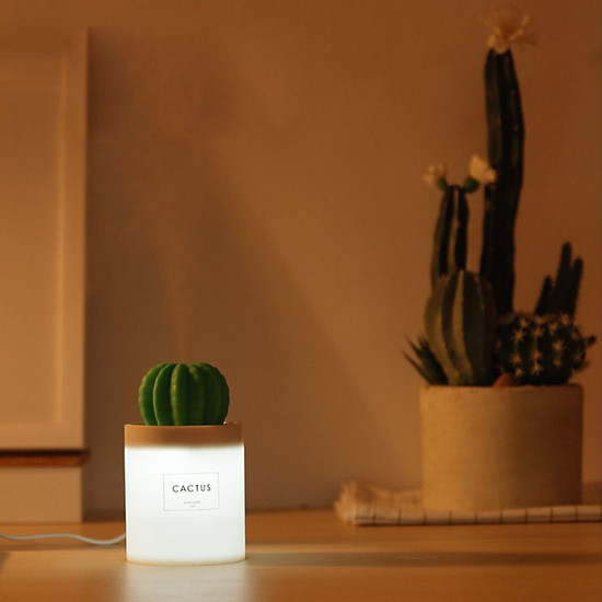 Uareliffe Mini Humidifier 280ML Cactus Ultrasonic Car Humidifier  Intelligent Timing Air Diffuser Silent Humidification Nano Small Mist Maker With LED Warm Night Light For Home Office Use - White-3