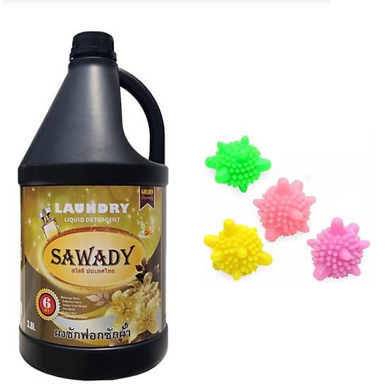 Nước giặt xả 6 in 1 Sawady Thái Lan 3,8L – Tặng 3 bóng giặt mini sinh học