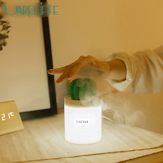 Uareliffe Mini Humidifier 280ML Cactus Ultrasonic Car Humidifier  Intelligent Timing Air Diffuser Silent Humidification Nano Small Mist Maker With LED Warm Night Light For Home Office Use - White-0