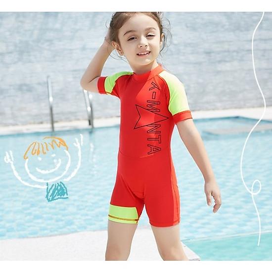 Hình đại diện sản phẩm Bộ bơi liền cộc cam tay vàng cho bé từ 1 đến 6 tuổi