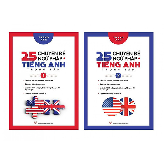 Combo 25 Chuyên đề ngữ pháp tiếng anh trọng tâm tập 1 và 2 – Trọn bộ 2 cuốn kèm book mark GIGA