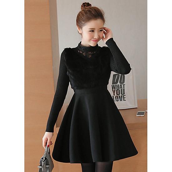 Hình đại diện sản phẩm Đầm xòe vải dạ phối lông đẹp kiểu đầm xòe thu đông phối cổ cao tay len màu đen GOTI1206290
