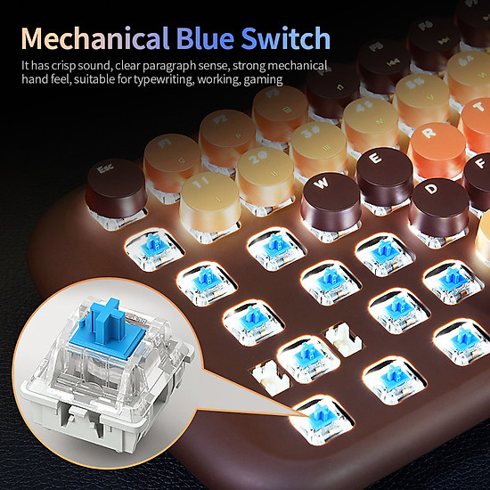 Mofii Candy M Wired Mechanical Keyboard 84 Keys Gaming Keyboard with Blue Switch White Backlight Multimedia Shortcuts - Brown-7