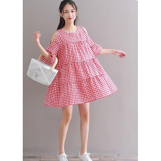 Váy đầm hở vai kiểu dáng cổ điển sọc caro dễ mặc ( VÁY CARO ĐỎ)