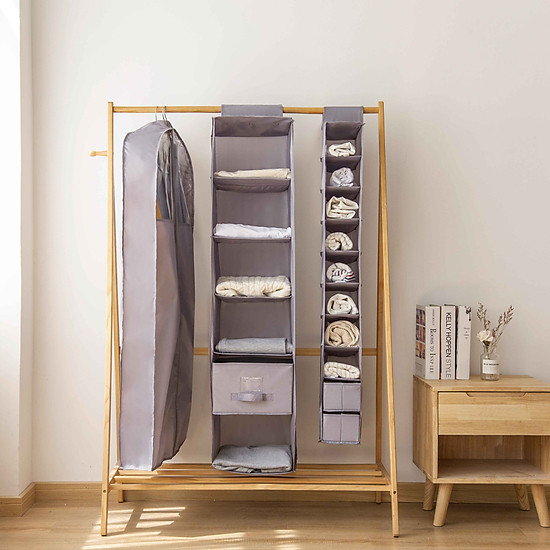 10-Tier OxFord Fabric Closet Hanging Shelf Organizer Collapsible Clothing Shoe Accessories Storage Box Holder