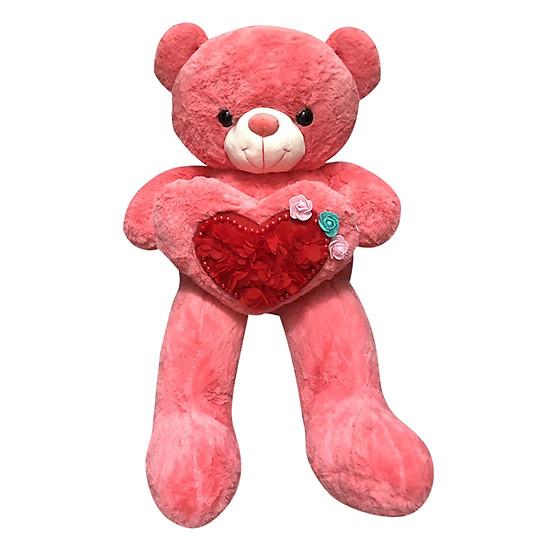 Gấu Teddy Ôm Tim Đính Hoa Ichigo (80cm)