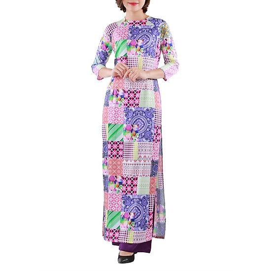 Set Áo Dài Cô Ba Mật Fashion A5_ADC3HTVL Họa Tiết Vuông Lớn  = 579.000 ₫