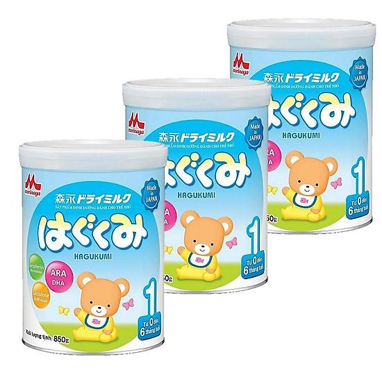 Combo 3 hộp sữa Morinaga Số 1 Hagukumi (850g) và đồ chơi tắm Toys House