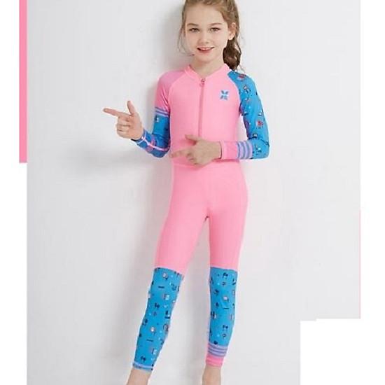 Bộ bơi liền dài hồng tay xanh bé gái từ 2 đến 11 tuổi