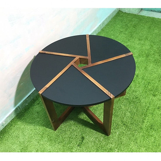 Bàn tròn đen sofa phòng khách T619-1 KT70x45, bàn trà, bàn cafe, cà phê, coffee, bàn gỗ