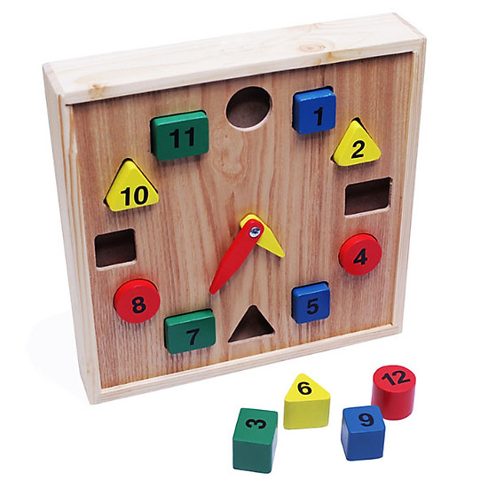 Đồ chơi gỗ mô hình đồng hồ số nhiều màu sắc cho bé học tậpOEM
