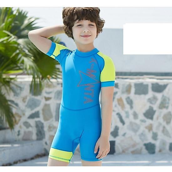 Hình đại diện sản phẩm Bộ bơi liền cộc xanh tay vàng cho bé từ 1 đến 6 tuổi