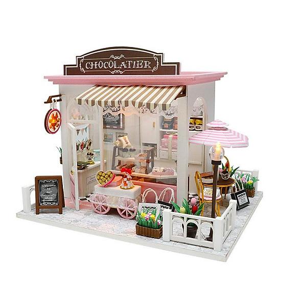 Nhà búp bê lắp ghép Tiệm bánh Chocolate Tặng kèm keo dán,dụng cụ lắp ghép, mica