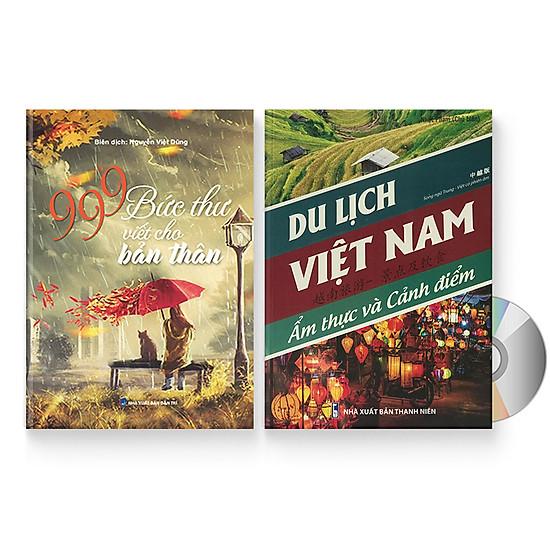Combo 2 sách: 999 bức thư viết cho tương lai + Du lịch Việt Nam – Ẩm thực và cảnh điểm (Trung – Pinyin – Việt, Có Audio nghe) + DVD quà tặng