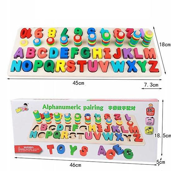 Đồ chơi giáo dục, giáo Cụ Montessori cho bé học đếm số, cột tính bậc thang và bảng chữ cái, đồ chơi gỗ giúp phát triển trí não giáo dục theo phương pháp montessori – Tặng Kèm Móc Khóa 4Tech.