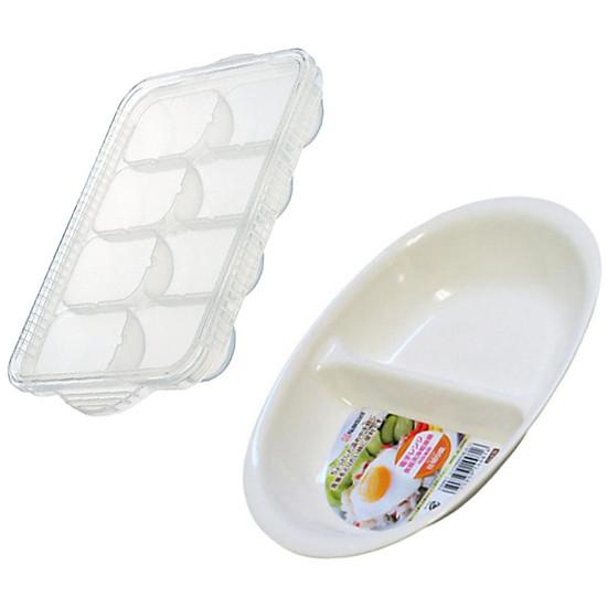 Combo Khay trữ 8 ngăn 30ml Skater + Khay ăn chia 2 ngăn cho bé nội địa Nhật Bản