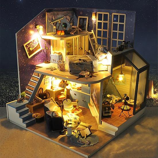 Mô hình nhà DIY Doll House Romantic Little Nightlight Kèm Mica Chống bụi