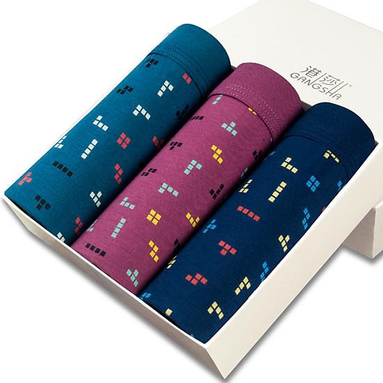 Hình đại diện sản phẩm Hong Kong shoes men's underwear modal flat angle shorts mixed color 3 gift box printing men's flat underwear XXXL
