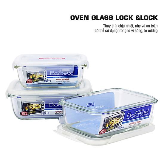 Bộ Túi Hộp Cơm Thủy Tinh 4EA Lock&Lock (LLG424*1, LLG430*2, HWB801GN-B-0*1) - Xanh Lá