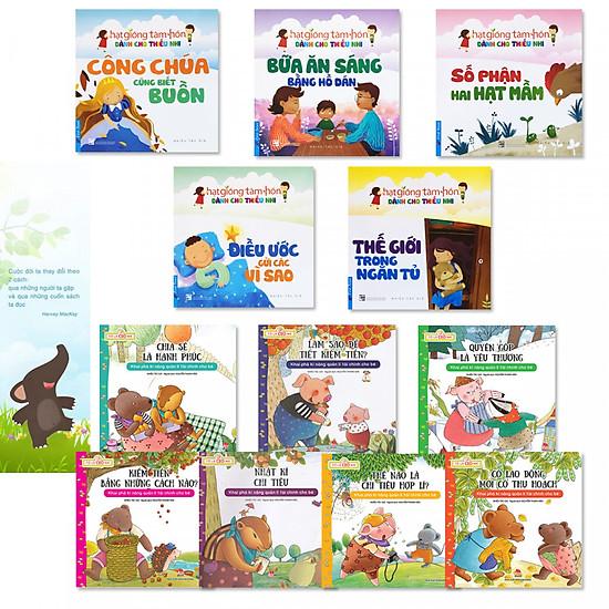 Combo 2 bộ sách hay cho thiếu nhi: Bộ 5 cuốn truyện thiếu nhi Hạt Giống Tâm Hồn + Bộ 7 cuốn Tớ Là CEO Nhí + bookmark danh ngôn hình voi
