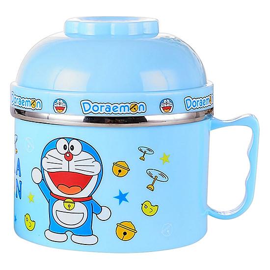 Tô Inox Ăn Mì Có Nắp Đậy Và Quai Cầm - Doraemon - Xanh-0