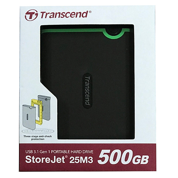 Ổ Cứng Di Động Transcend Storejet M3S 500GB USB 3.1 – TS500GSJ25M3S – Hàng chính hãng