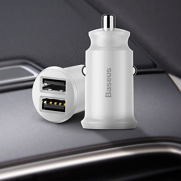 Tẩu sạc đa năng dùng cho xe hơi Baseus Grain Mini (5V, 3.1A Fast Charge, 2 cổng USB Car Charger) – Hàng Chính Hãng