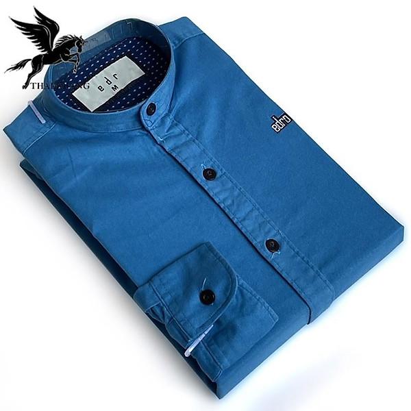 Áo sơ mi nam cổ tàu dài tay chất vải cotton dày mềm mịn co giãn tốt kiểu dáng slimfit mặc vừa vặn có size từ 50kg-75kg