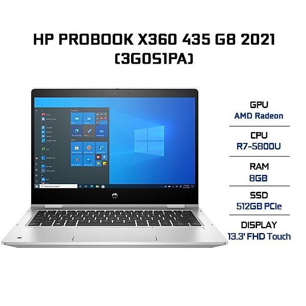 Laptop HP Probook X360 435 G8 3G0S1PA (AMD R7-5800U/ 8GB (8×1) DDR4 3200MHz/ 512GB PCIe NVMe SSD/ 13.3 FHD IPS Touch/ Win10) – Hàng Chính Hãng