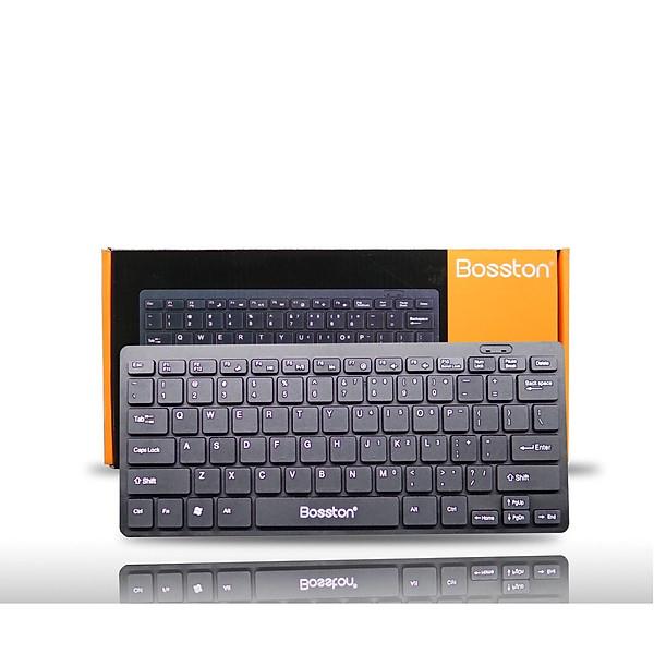 Bàn phím máy tính-Bàn phím mini có dây Bosston 868 phím bấm rất nhẹ êm JL (Đen) – Hàng nhập khẩu