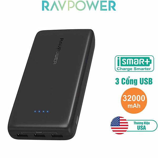 Pin Sạc Dự Phòng RAVPower Ace RP-PB064 32000mAh 3 Cổng USB – Hàng Chính Hãng