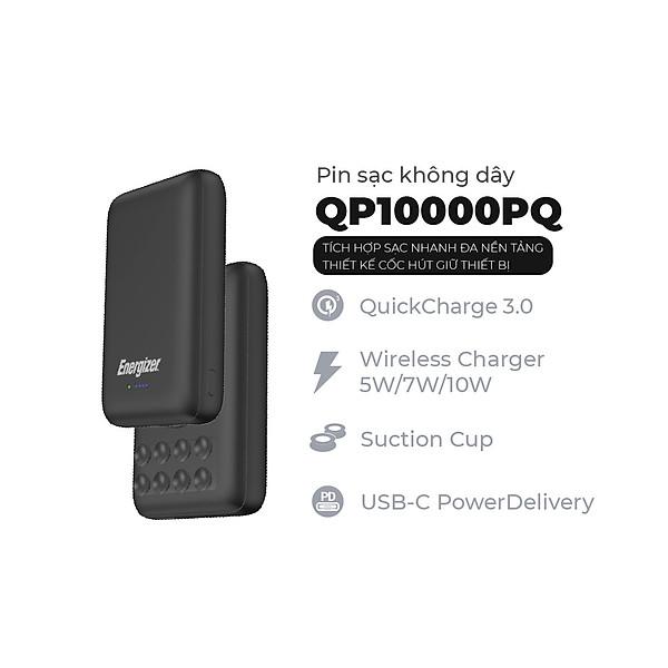 Pin dự phòng Energizer QP10000PQBK 10,000mAh – Tích hợp sạc nhanh đa nền tảng, sạc không dây – Thiết kế cốc hút giữ thiết bị – HÀNG CHÍNH HÃNG
