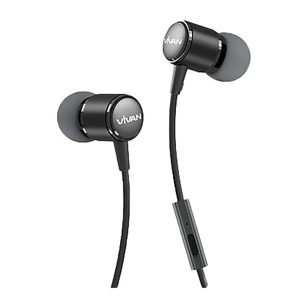 Tai nghe nhét tai có dây Jack cắm 3.5mm Vivan Có Mic/Microphone   Cho iOS/Apple (iPhone/iPad), Android (Samsung, Sony, Xiaomi, Huawei, Oppo) Màu Đen/Xám – Q11 – Hàng Chính Hãng