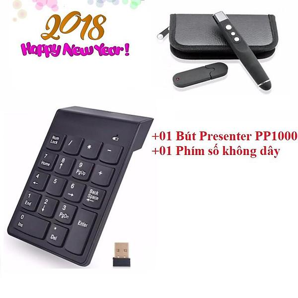Bộ 2 sản phẩm kết nối không dây với laptop Bút trình chiếu PP 1000+Bàn phím số không dây Mini Number Keyboard
