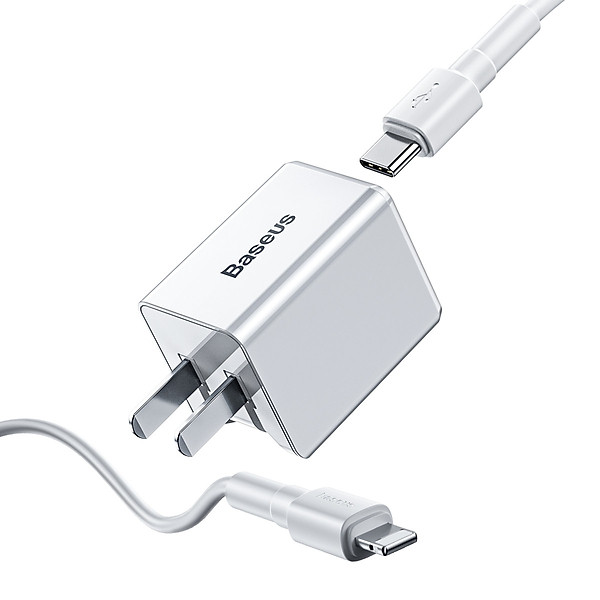 Bộ sạc nhanh cho iPhone 7/8 Plus/X/XS/XS Max Baseus Traveler PD quick charger suit 18W(Type-C to IP 1M Cable)(US) TZCCXZ-02 White