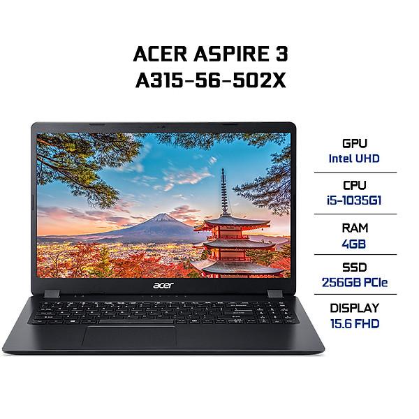 Laptop Acer Aspire 3 A315-56-502X NX.HS5SV.00F (Core i5-1035G1/ 4GB DDR4 2666MHz/ 256GB SSD M.2 PCIE/ 15.6 FHD IPS/ Win10) – Hàng Chính Hãng