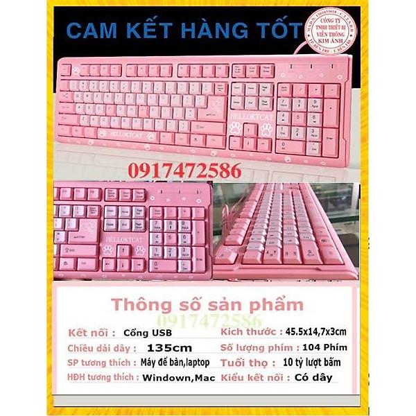 Bàn phím máy tính Kitty có dây -Màu Hồng- chuôi cắm USB- BÀN PHÍM MÁY TÍNH