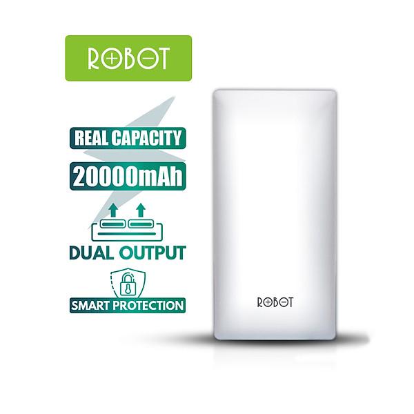 Pin sạc dự phòng 20000mah ROBOT RT20 thiết kế nhỏ gọn 1 cổng USB và 1 cổng Micro/Type-C tặng dây sạc Micro – Hàng chính hãng