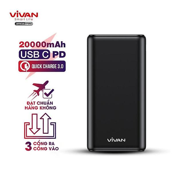 Pin sạc dự phòng 20000mAh 3 cổng USB Vivan   22.5W – 5A cổng Type C Sạc nhanh QC 3.0 Power Delivery PD – VPB-H20S – Hàng Chính Hãng