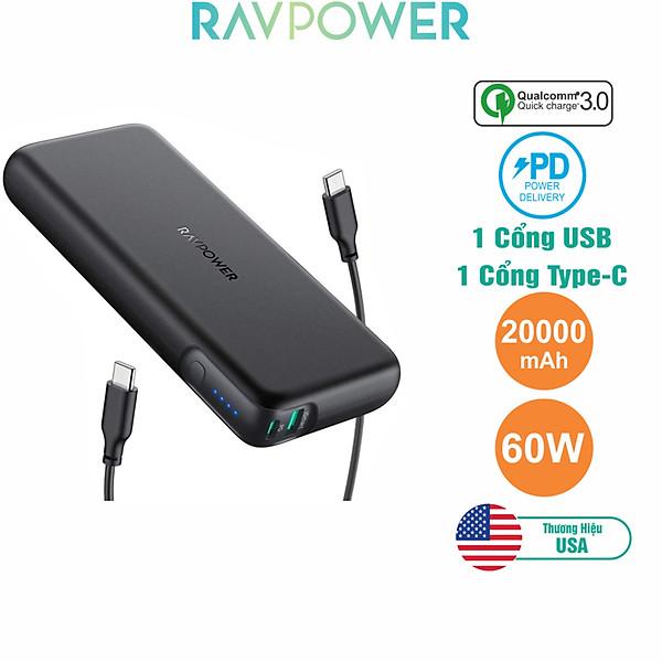 Pin Sạc Dự Phòng RAVPower 20000mAh Quick Charge 3.0 + PD 60W, In/Out Type-C, Sạc Được Macbook – RP-PB201 – Hàng Chính Hãng