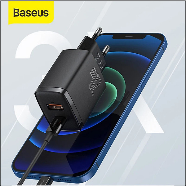 Cóc sạc Baseus Compact Quick nhỏ gọn 20W (USB + Type C Dual Port, 20W PD/QC 3.0 Multi Quick Charge Support) cho iPhone 12/iP11/XS Max, Android