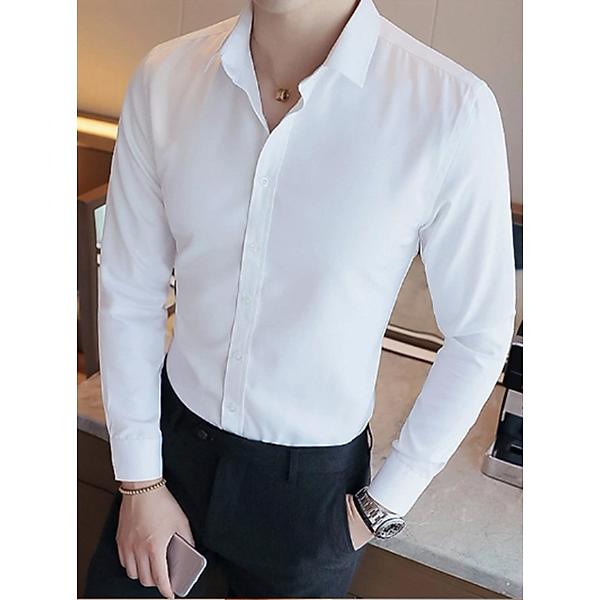 Áo sơ mi nam dài tay màu trắng không túi vải mềm mịn không nhăn
